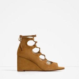 Zara boho strappy short wedges